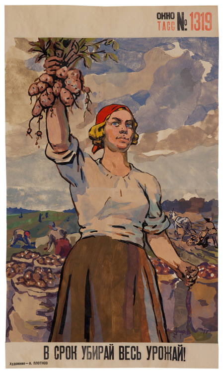 """Gather all Harvest in Time, 58\"""" x 33.75\"""", stencil and gouache on paper (Oct 1945, A. Plotnov)"""