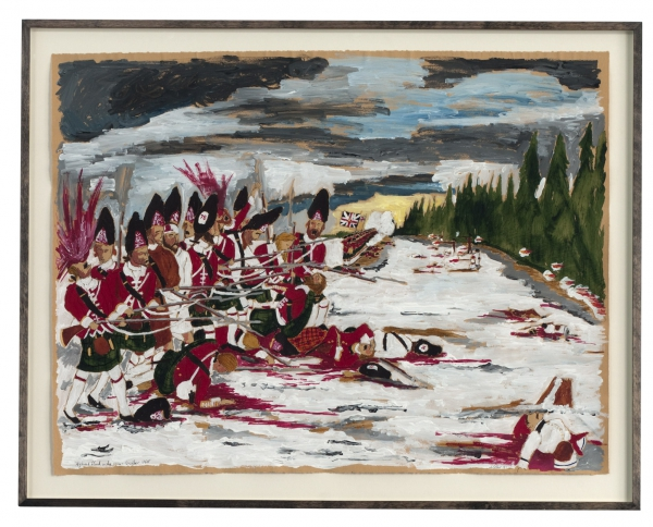 Highland Blood in the Snow, Quebec 1757 (watercolour, acrylic & pen on paper, 48 x 63 cm) ©2012 Andrew Gilbert