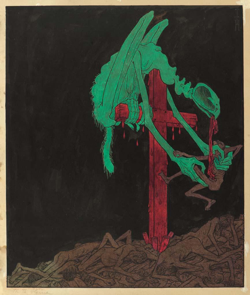 Thomas Theodor Heine, Die Cholera am Balkan, 1912, Karikaturmuseum Wilhelm Busch