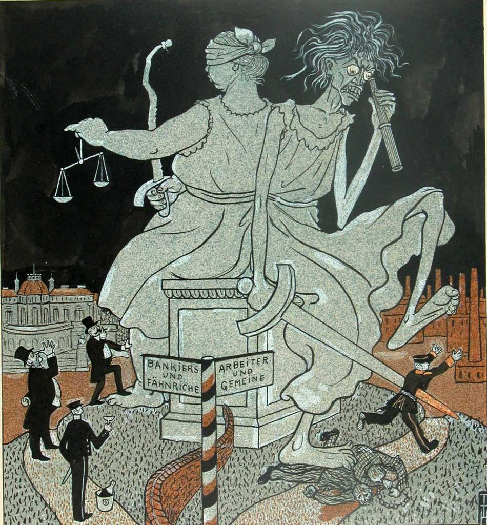Thomas Theodor Heine, Durchs dunkelste Deutschland – Die Doppel-Justitia, 1903, Karikaturmuseum Wilhelm Busch