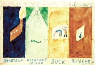 """Thomas Geve: """"Gefahren in Auschwitz"""", 1945 (© Yad Vashem)"""