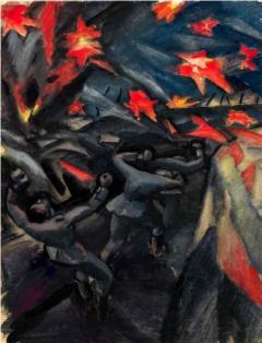 Otto Fischer-Trachau: Überraschender Handgranatenüberfall auf der »Giesslerhöhe«, 1916, Tempera, Sammlung Gerhard Schneider
